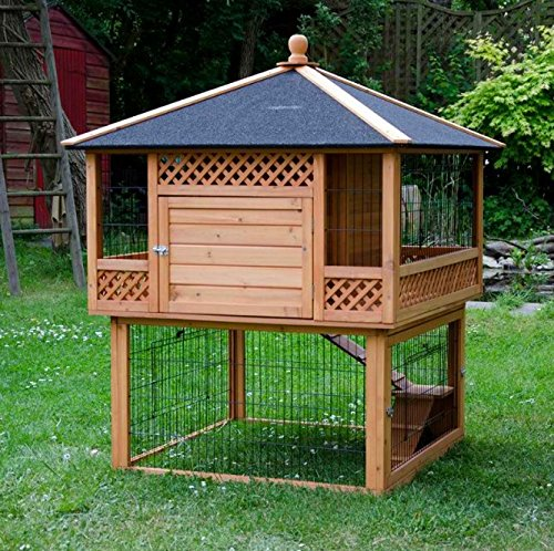 High Quality Outdoor Hutch Pagoda with Run with Patio and Integrated Run A Beautiful Home for Rabbits and Guinea Pigs that Will be A Real Eye-Catcher in your Garden
