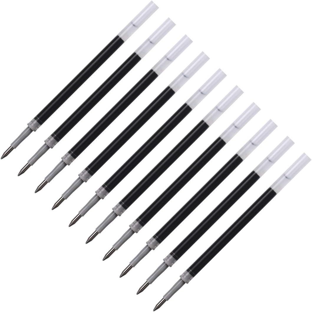 Elzo Gel Pen Refills Pack of 10 for Elzo 3 in 1 Capacitive Disc Stylus Gel Pens Pack of 10, Black 0.5mm Metal Tip Pack of 10 Black Ink