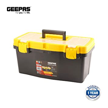Geepas - Caja de herramientas de plástico de 48,26 cm con cerraduras metálicas seguras