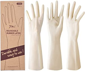JOYECO Rubber Gloves Reusable Household Cleaning Gloves for Kitchen Dishwashing 3 Pairs, Small
