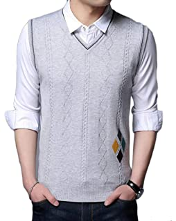 lovever Men Casual Knitted Thermal Lightweight Pullover Slim Fit Argyle Sweaters