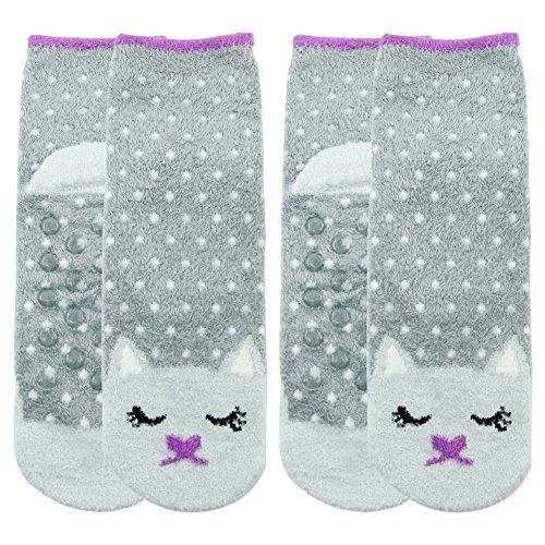 Cute Slipper Socks,Women/'s Lovely Fuzzy Soft Gray Kitty Cat Fashion Polka Dots 2
