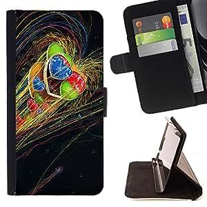 - UNIVERSE RAINBOW HEART LGBT GREEN BLUE RED - - Prima caja de la PU billetera de cuero con ranuras para tarjetas, efectivo desmontable correa para l Funny HouseFOR LG G2 D800