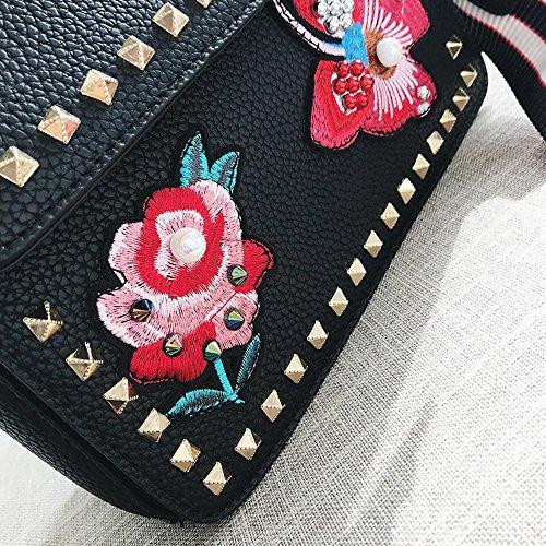 Dame de tendance rivet coréenne messenger bag A Bandoulière de unique broderie large épaule Aoligei mode modèle q4wvHnER