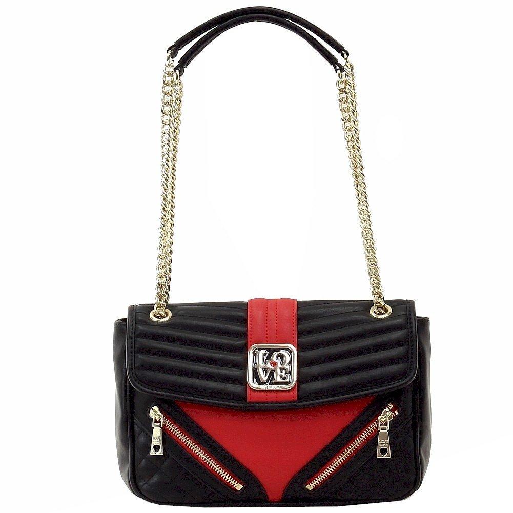 Love Moschino Quilted & Zipper Black/Red Double Chain Handle Satchel Handbag
