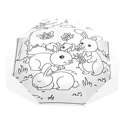 20c7121821e8 Amazon.com : Umbrella Rabbits Playing with Butterflies Travel Golf ...