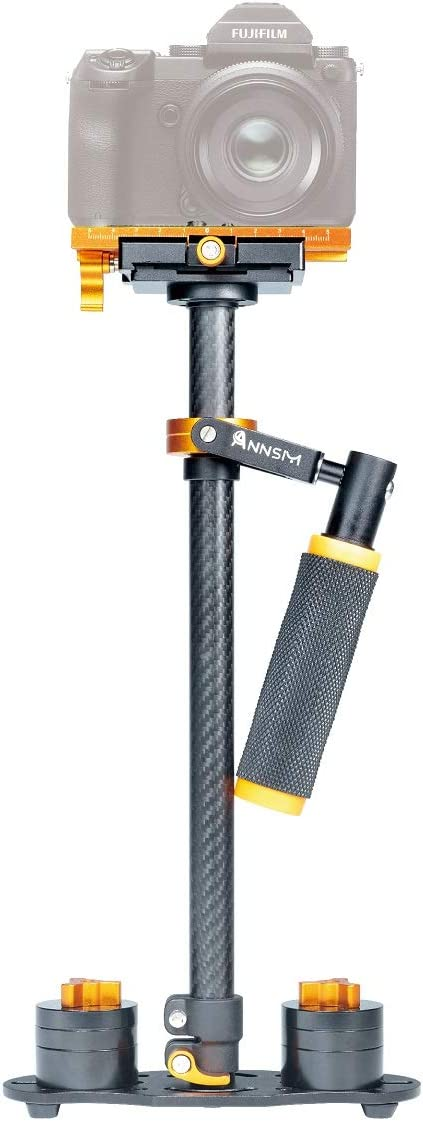 """ANNSM HS60-C Professional Handheld 24""""/60cm Carbon Fiber Video Stabilizer for DSLR Cameras/Camcorders/Home DV/Smartphones/iPhones Quick Shoe Plate with 1/4"""" and 3/8"""" Screw Height/Weight Adjustable in"""