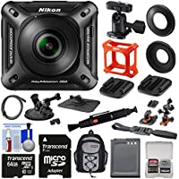 Nikon KeyMission 360 Wi-Fi Shock & Waterproof 4K Video Action Camera Camcorder + Suction Cup, Dashboard & Helmet Mounts + 64GB Card + Battery + Backpack Kit