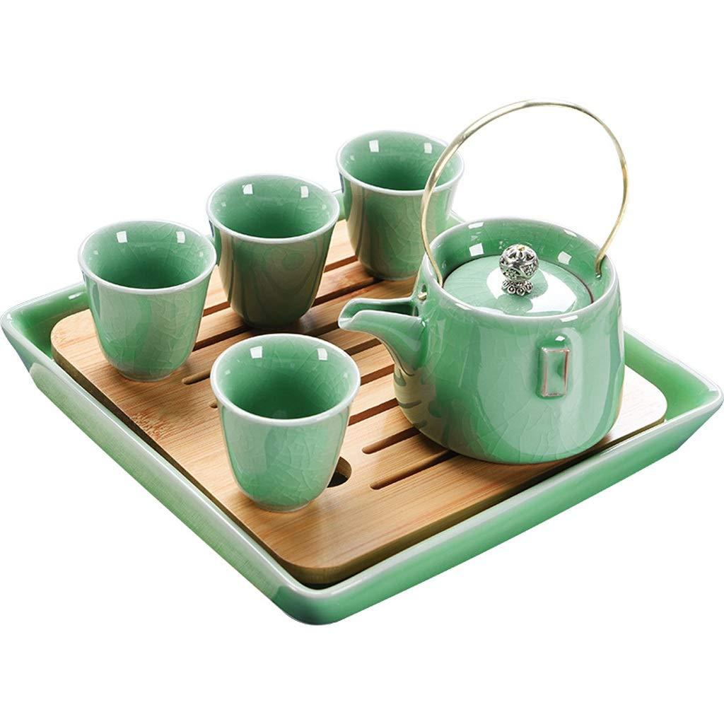 セラミックティーセットティーポットティーカップ家庭用ティーポットシンプルティーメーカーマッチングティープレート LQX (色 : 緑) B07RBDG7VV 緑