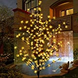 Image of Led Tree Light, Ucharge Cherry Blossom Flower Tree Light 208leds 1.8m 6ft Warm White Garden Led Floral Lights for Christmas Tree, Indoor, Outdoor, Garden, Home, Wedding, Party, Holiday Decorations