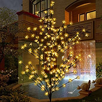 Led Tree Light, Lighted Cherry Blossom Flower Tree 208leds 1.8m 6ft Warm  White Garden