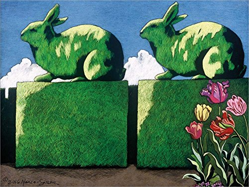 Great Art Now Topiary Rabbits by Lyn Nance Sasser and Stephen Sasser Laminated Art Print, 37 x 28 inches