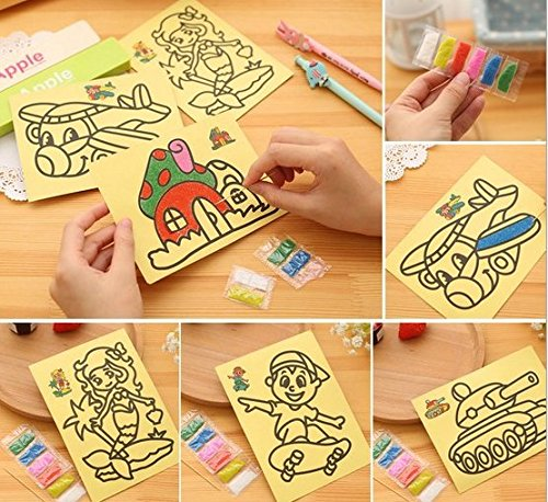 URToys 10Pcs/lot 20.5x15cm Colored Sand Painting Drawing Toys Sand Art Kids Coloring DIY Crafts Learning Education Color Sand Art Painting Cards Set With Yellow Background Random Patterns