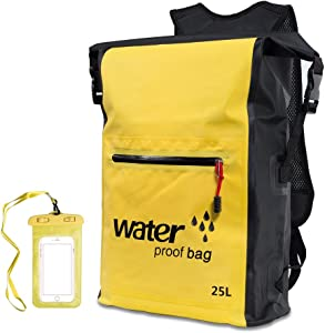 Vaneliss Waterproof Dry Bag Floating Lightweight Backpack with Long Adjustable Shoulder Strap Roll Top Sack for Kayaking/Skiing/Camping/Swimming/Fishing/Water Sports/Travel/Climbing/Phone (Yellow)