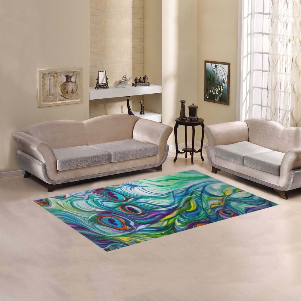 JC-Dress Area Rug Cover Peacock Modern Carpet Cover 5'x3'3''