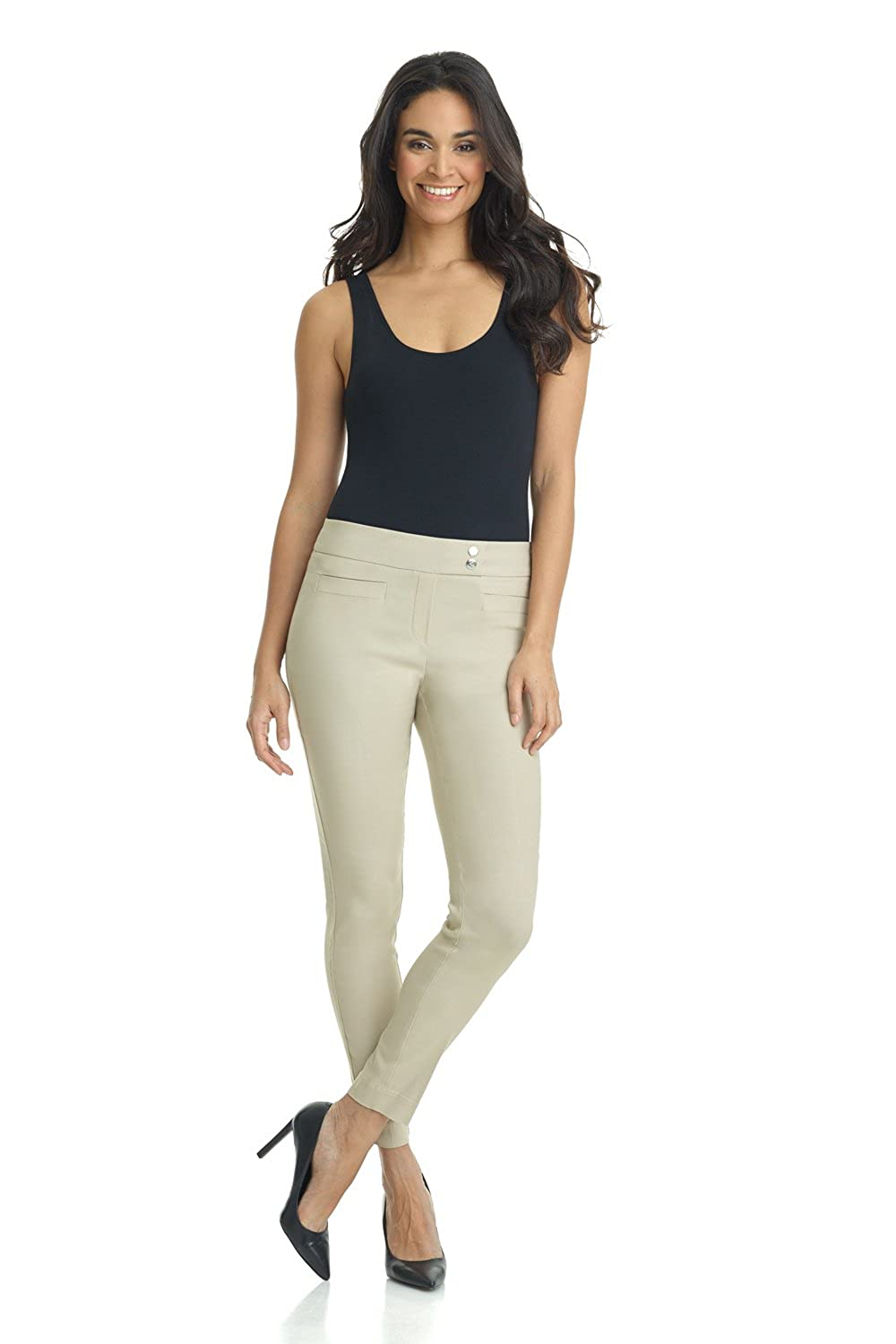 Rekucci Womens Ease in to Comfort Slim Ankle Pant with Snaps
