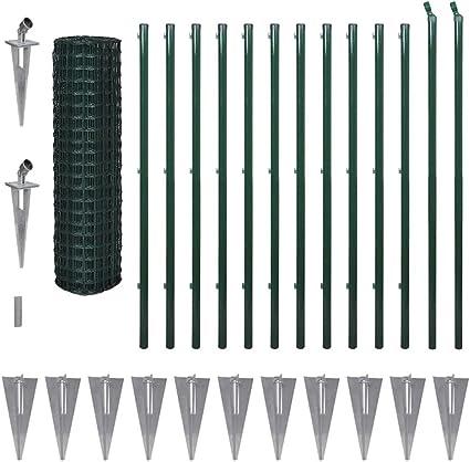 Tidyard Juego de Valla con piquetas, Valla de jardín, Alambre de Malla, Acero Verde, 25 Metros de Longitud, Altura a Elegir, 1,7 m: Amazon.es: Hogar