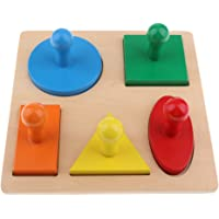 MagiDeal Montessori Wooden Toy - Geometric Shapes Puzzle - 5 Different Color / Shape Geometric Puzzle, Kids Toddlers Child Geometry Learning Aids
