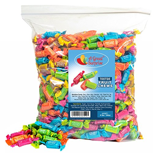Tootsie Rolls Bulk - Tootsie Fruit Chews Candy - Assorted Flavors,4 LB Party Bag, Family Size, Bulk Candy ()