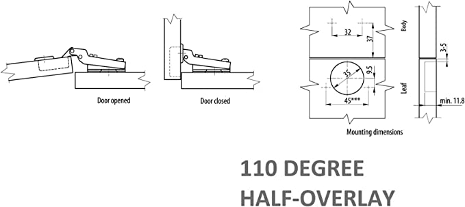 1 x Bisagra de superposici/ón a la mitad de estandar /Ø 35mm EURO