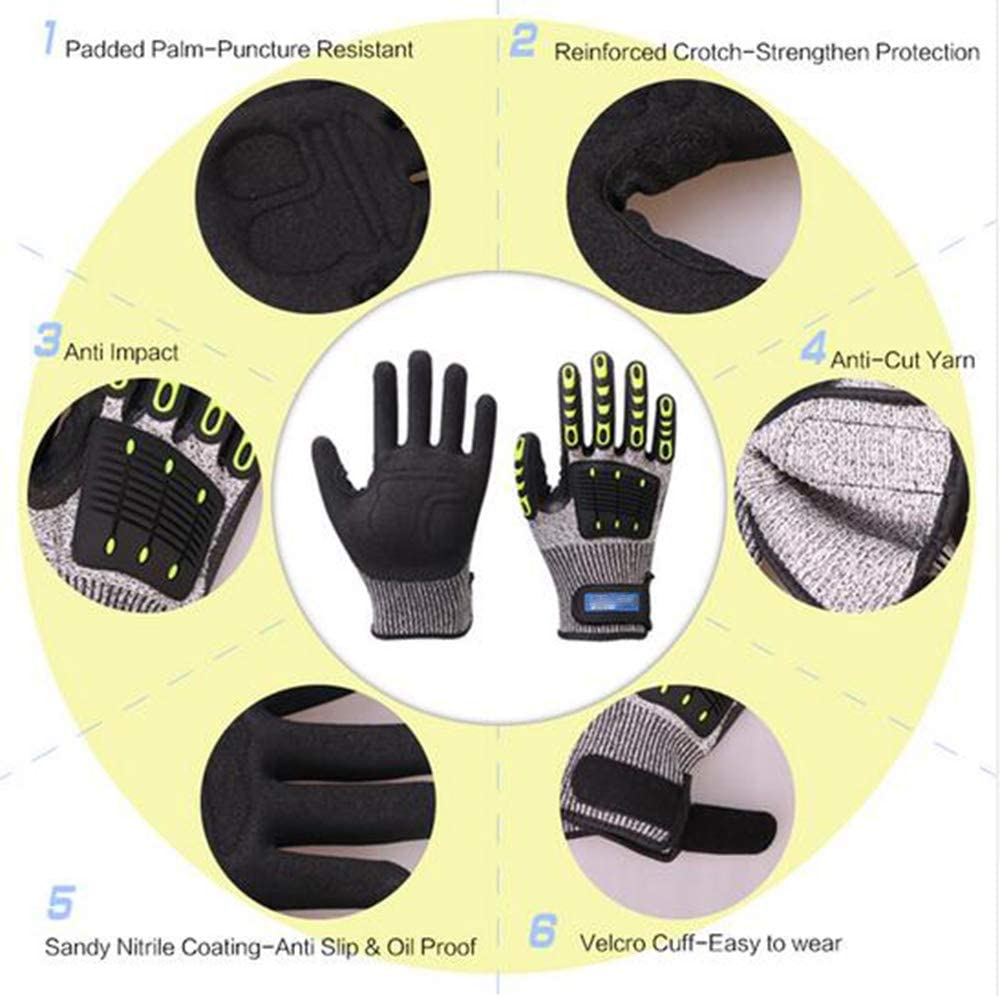 Cut Resistant Gloves Anti Impact Vibration Oil Safety Work Gloves Anti Cut Proof Shock Mechanics Impact Resistant,S