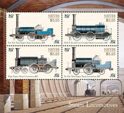 (Nevis Trains, Steam Locomotives Collector's Sheetlet of 4 Stamp)