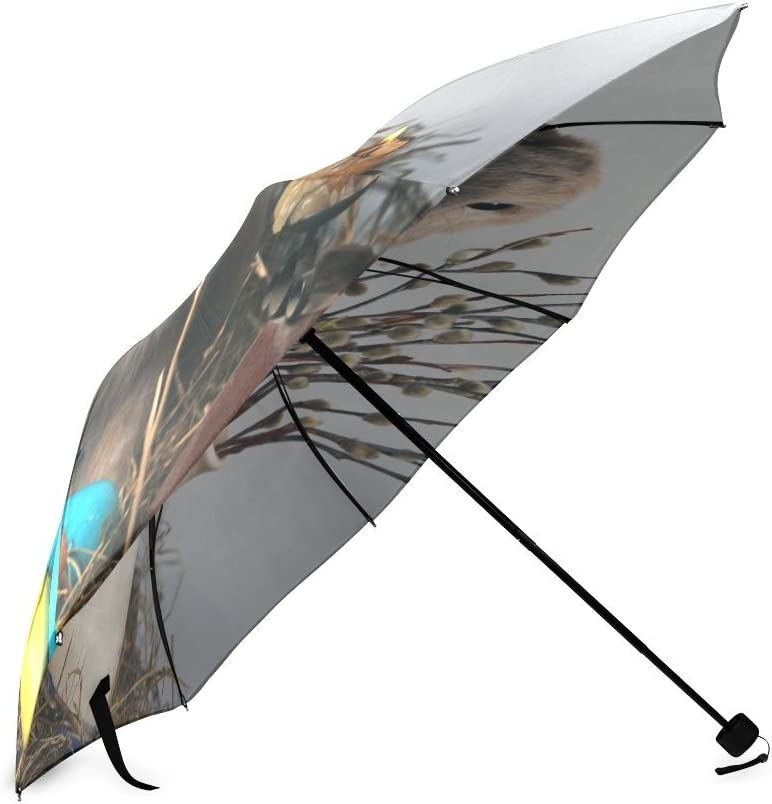 Custom Cute Rabbit and Easter eggs Compact Travel Windproof Rainproof Foldable Umbrella