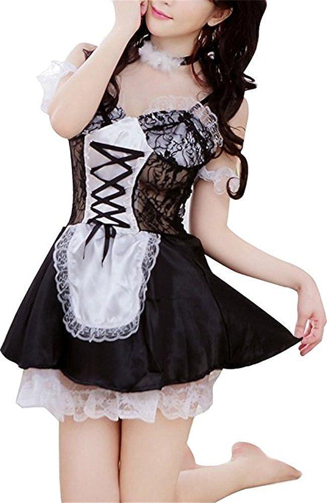 Befox In bianco e nero prua nodi del Halter del merletto di fantasia domestica Cosplay Set