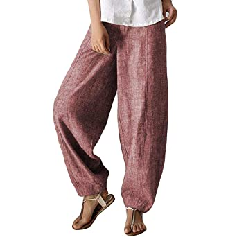 i-uend - Pantalones Largos de Mujer de algodón con Talle Alto y ...