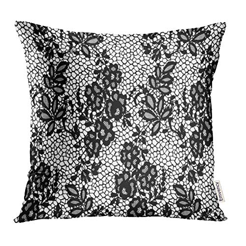 Emvency Decorative Throw Pillow Case Cushion Cover White Abstract Black Lace Pattern Border Classic Drawing Dress Elegance Elegant 20x20 Inch Cases Square Pillowcases Covers for Sofa Two Sides Print