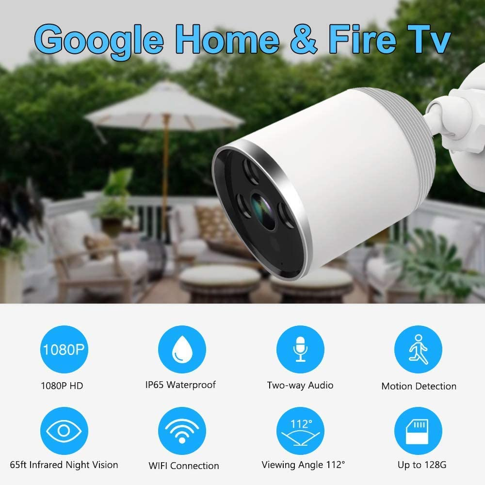 Outdoor Security Camera Wireless, WZTO 1080P HD Home Security Camera System 2MP WiFi Smart Home Camera Motion Detection Two-Way Audio IP66 Waterproof Cloud Camera with MicroSD Slot Cloud Storage