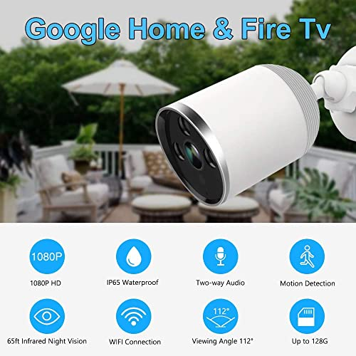 WZTO Outdoor Security Camera Wireless 1080P IP Camera 2.4G WiFi Night Vision Security Cameras Indoor Outdoor Motion Detection with Two-Way Audio IP66 Waterproof Camera