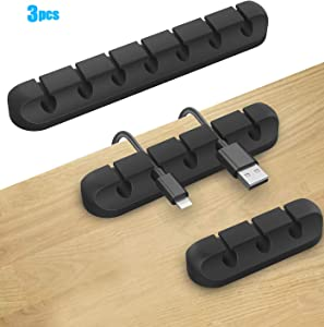 Desktop Cable Clips Cable Management, Black Cable Tidy Self-Adhesive Desk Cable Organizer for Organizing Cable Cords Home and Office, 3 Pack Wire Management