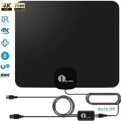 Antena de TV Interior,1byone TV Antena Digital para Interiores con Amplificador Inteligente de Señal 4K,1080P HD, de Alcance de 80KM,Cable Coaxial de ...
