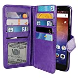 NEXTKIN Ascend XT H1611 Case, Leather Dual Wallet Folio TPU Cover, 2 Large Pockets Double flap Privacy, Multi Card Slots Snap Button Strap For Huawei Ascend XT H1611 - Purple