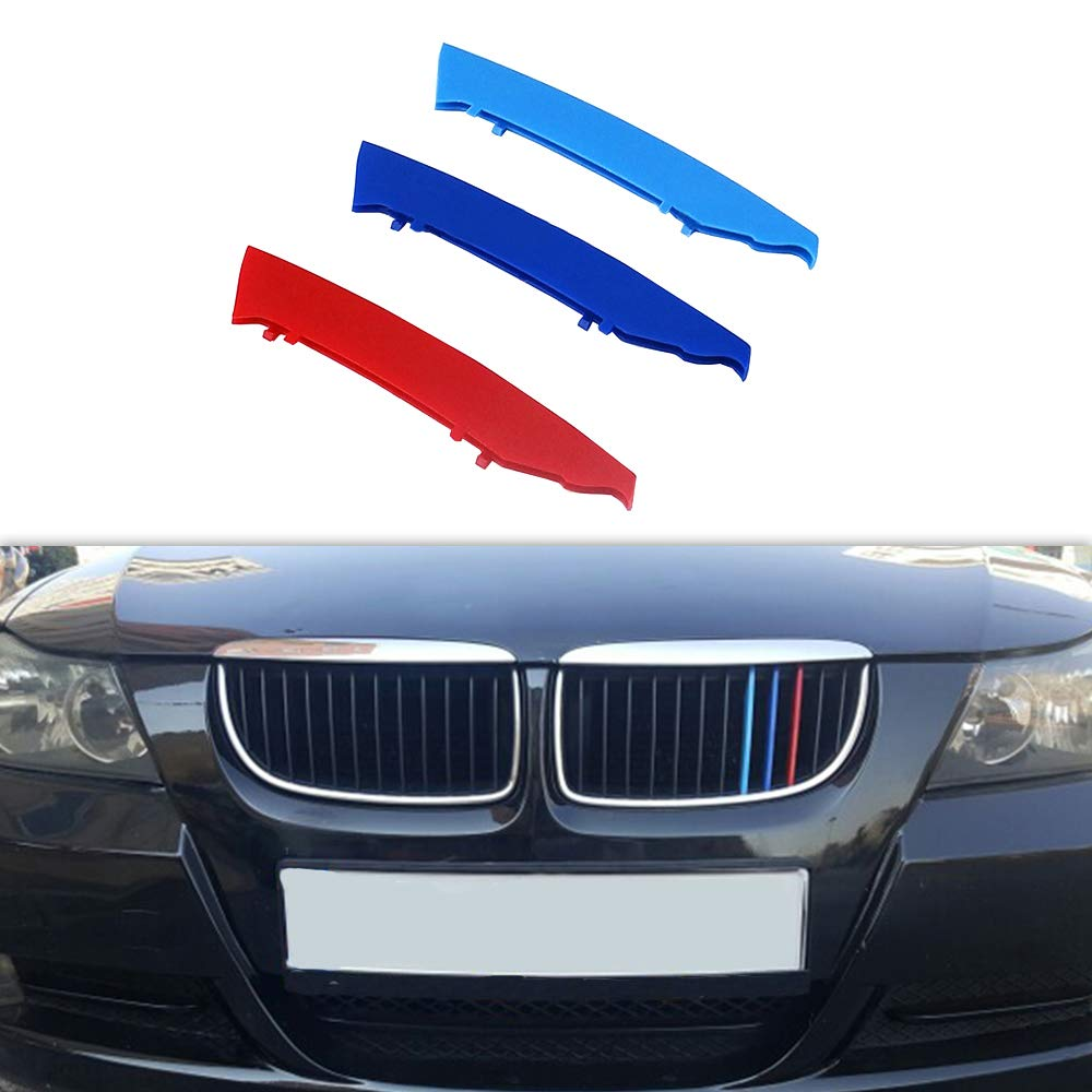 Front Grille Grill Cover for BMW 3 Series E90 E91 2009-2012 M Color Insert Trim Clips 3Pcs 12 Grilles