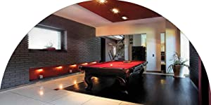 Modern Decor Frosted Privacy Arched Window Film, House with Snooker Table Hobby Pool Game Flat Furniture Leisure Time Print Decorative Glass Film Static Cling Film for Home & Office Privacy, 44 inches