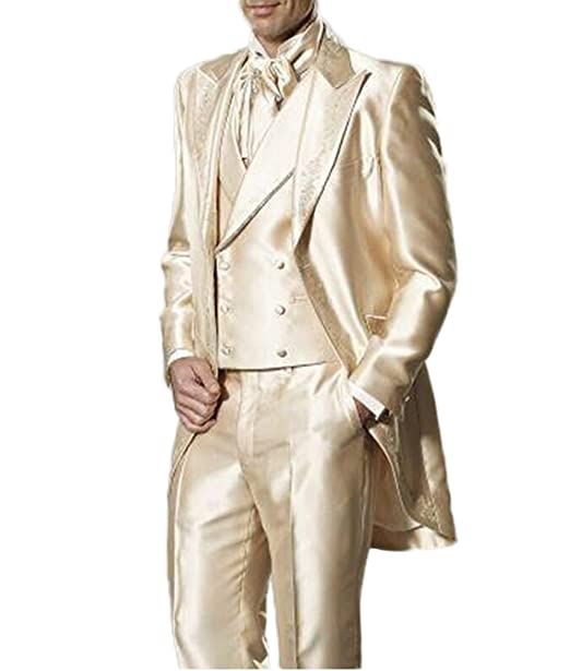 Mens Peak Lapel Slim Fit 3pc Tailcoat Suit Wedding Men Suit ...