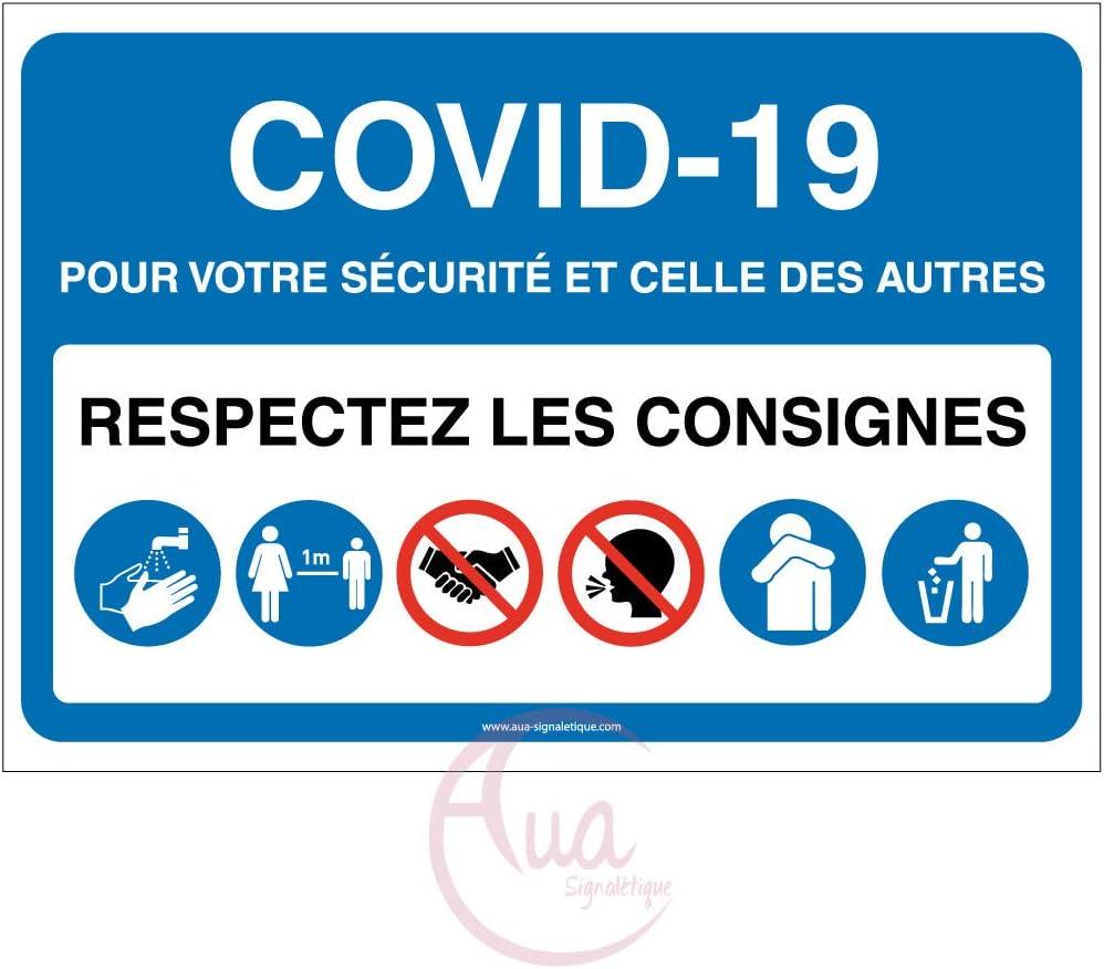 Vinyl adh/ésif 150x105 mm Mod/èle avec 6 pictogrammes -Bleu Signalisation Coronavirus respectez consignes COVID-19 AUA SIGNALETIQUE
