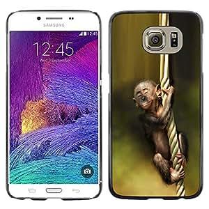 Paccase / Dura PC Caso Funda Carcasa de Protección para - Monkey Green Nature Cute Baby Forest - Samsung Galaxy S6 SM-G920