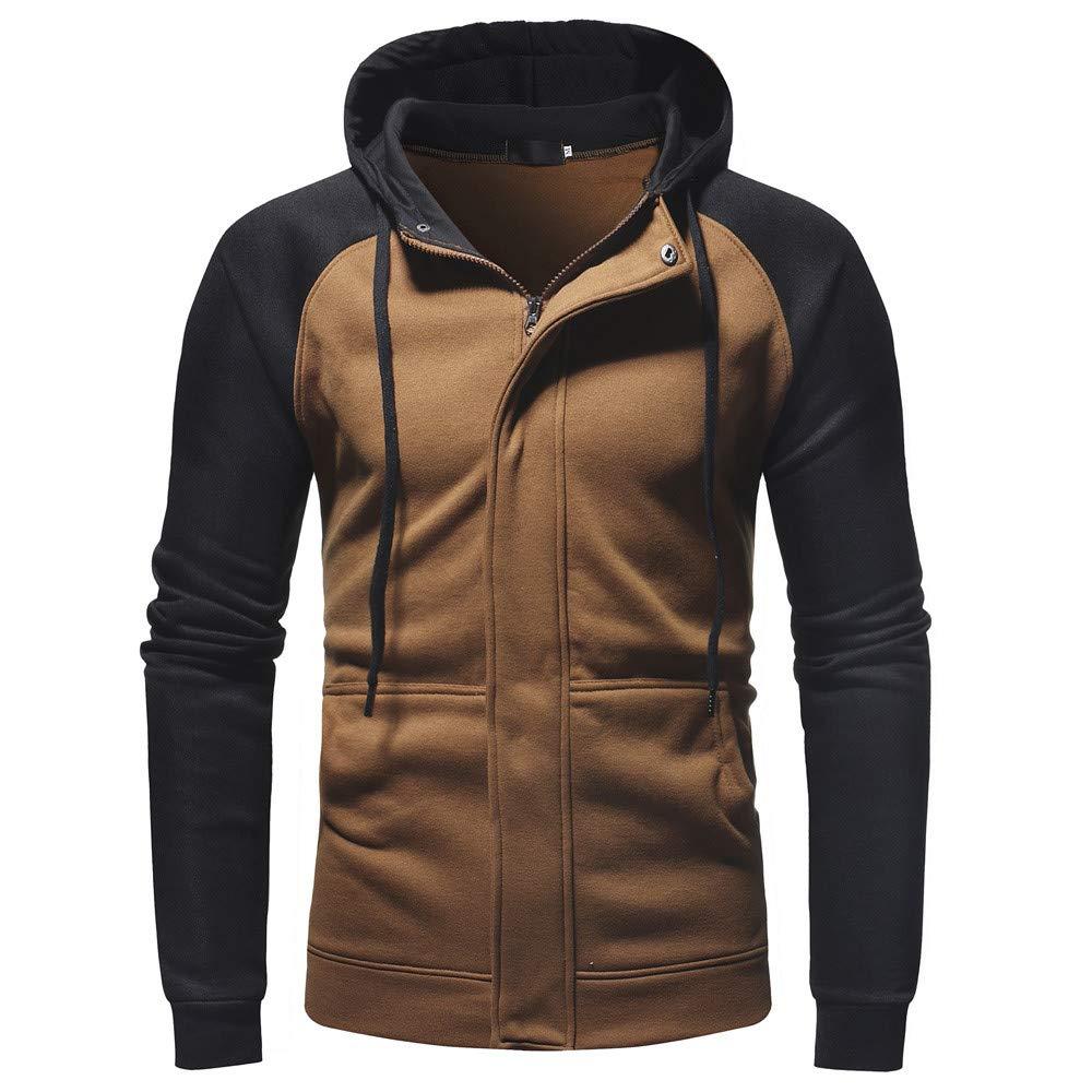 LIKESIDE Men's Long Sleeve Autumn Winter Splicing Casual Sweatshirt Hoodies Top Blouse