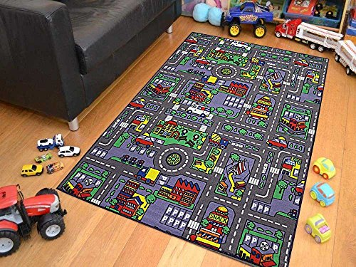 8x10 Kids Boys Children Toddler Playroom Rug Nursery Room Rug Bedroom Rug Fun Colorful ( City Map ) by LA Rug Linens (Image #4)