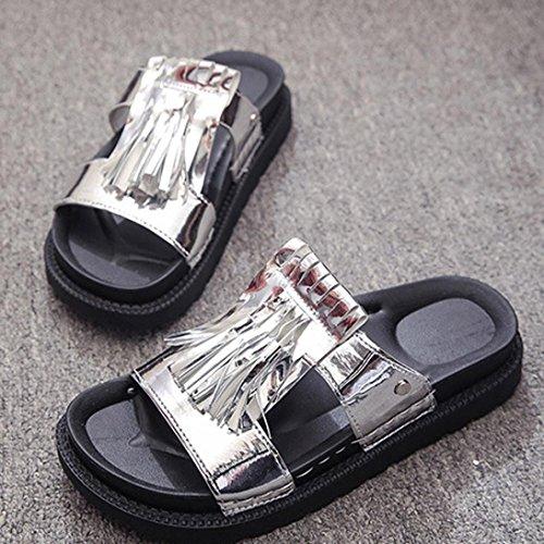 Ouneed® Damen Sandalen ,Frauen Sommer Sandalen Schuhe Home Party Fringe Sandalen Damen Flip Flops Silber