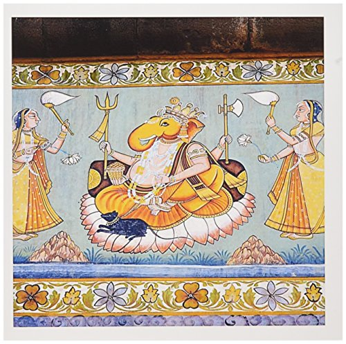 3dRose Greeting Cards, Rajasthan, India. Mural Painted on the Wall (gc_188254_2)