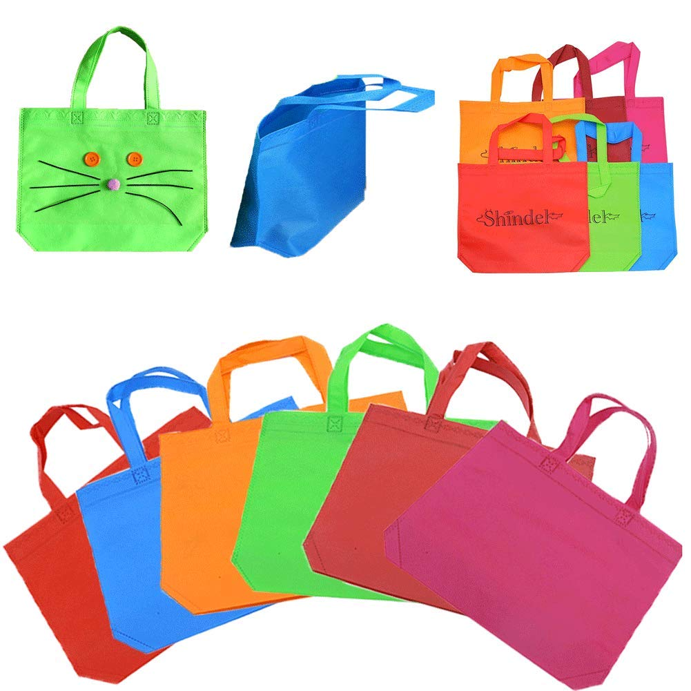 Party Tote Bags, 13'' One Side Blank Non-woven Bags with Handles for Party Favors Painting Party Snacks Decoration Arts & Crafts, 24 PCS