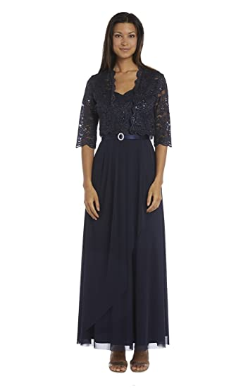 R&M Richards Long Mother of Bride Plus Size Dress Navy at ...