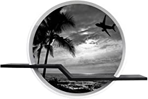 24'' Sunset with Palm Tree and Airplane Silhouettes Round Wall Floating Shelves Canvas Print Wall Art Decor for Bedroom, Living Room, Cafe, Office, Ready to Hang