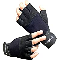 Toppfour Training Sports Leather Gloves Unisex with Wrist Support for Weightlifting Gym Workout & Yoga Exercise to Avoid…