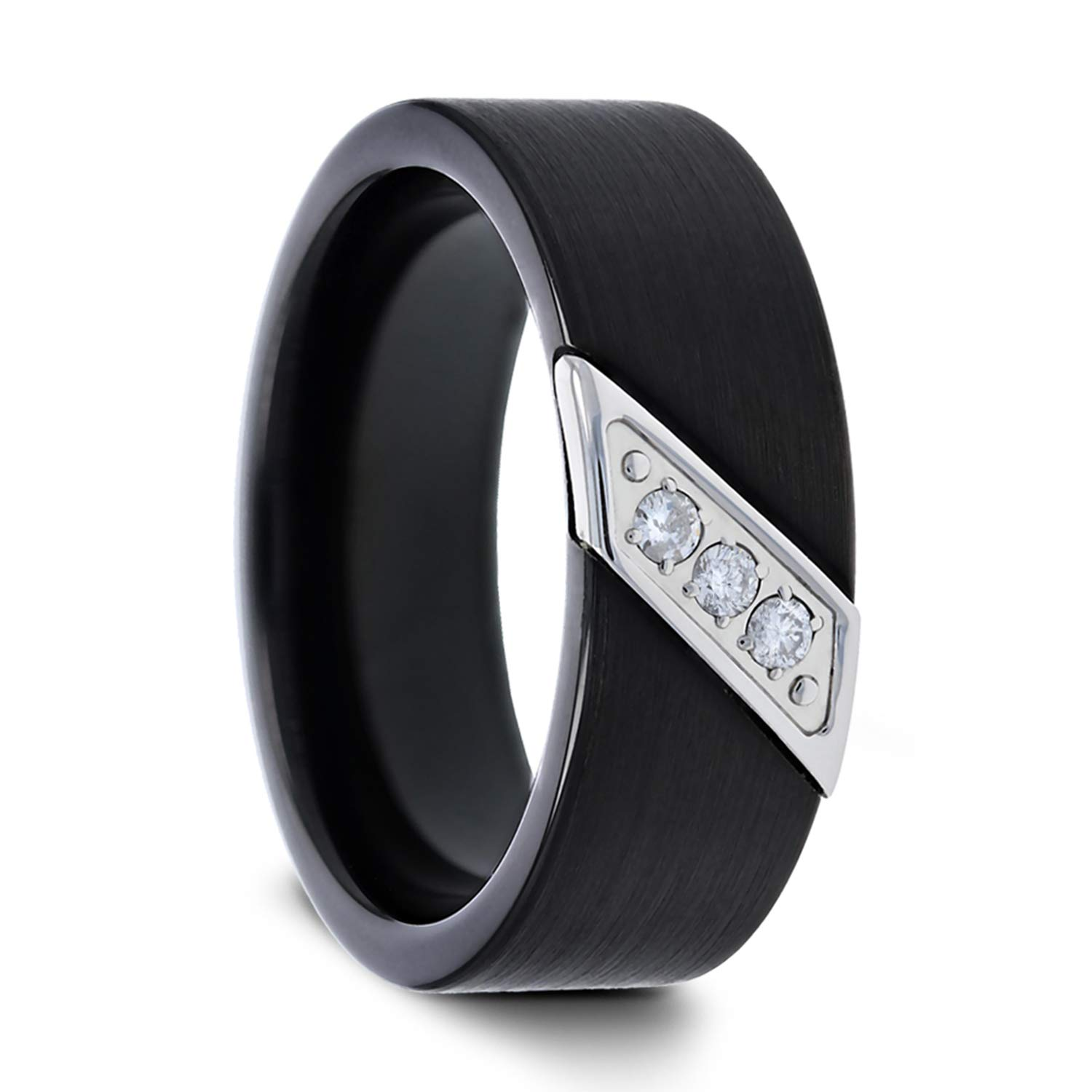 Liam Flat Black Satin Finished Tungsten Carbide Wedding Band with Diagonal Diamonds Set in Stainless Steel - 8 mm (9.5)