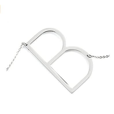 gmai womens classic stainless steel big letter necklace initial chain script pendant name necklace sideways large